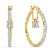 1.80ct Natural Round Diamond 14k Solid White Rose Gold Amethyst Hoops Earring