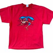 Vtg 2003 Delta Marvel Mens Graphic Tee Large Red Spiderman Animated Series Mtv