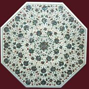 30 Inches Marble Dinette Table Top Inlay Kitchen Table With Abalone Shell Stone