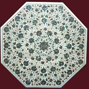 42 X 42 Inches Shiny Gemstones Inlay Work Patio Table Top Marble Dining Table