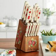 Pioneer Woman Vintage Floral 14-piece Cutlery Kitchen Set Wood Block Home Dining