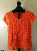 Crown And Ivy Petite Womens Orange Crochet Front Shirt Size Petite Large