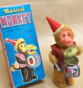 Vintage Toy 1970 Fuji Press Industry Musical Monkey Japan Made Good Condition