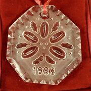1988 Waterford Crystal 12 Days Christmas 5 Golden Rings Ornament W/box