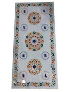 24 X 60 Inches White Garden Table Top Marble Dining Table Semi Precious Stones