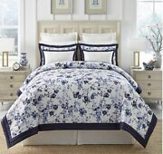 Southern Living Hartwell Floral And Framed Comforter Mini Set Queen Navy Blue New