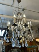 Vintage French Style Multi Tiered Six Light Crystal Drop Chandelier