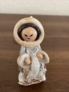 Vintage Alaskan Clay Small Indigineous Woman Figure Signed