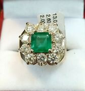 Superb 2ct Emerald And 2.60ct Diamond 18k Gold Ring Sz7 New