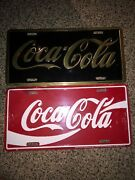 Licensed Coca-cola Metal License Plate Red White And Beautiful Black Gold Lot