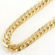 18k Yellow Gold Necklace About50cm Curb Chain 6sides Double Free Shipping Used