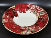 F.giorgi By Ceramica Made In Italy, White, Red And Gold Platter Pointsettia 17inch