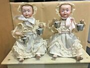 Automaton Old Crank Musical German Dolls Biscuit Head Twins