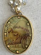 """Maximal Art John Wind """"spring Easter Chick Egg Cart Collector's Necklace"""""""