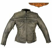 Womenand039s Racer Distressed Brown Collared Leather Jacket W/ Zippered Front Closure