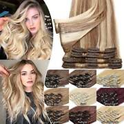 Clip In 8 Pieces 100 Remy Human Hair Extensions Full Head Blonde Dark Ombre G45