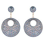 Diamond Pave Solid 925 Sterling Silver Dangle Earrings 14k Gold Handmade Jewelry