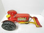 Vintage Antique Louis Marx And Co 1950s Tin Toy Tractor With Loader Kids Clean