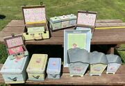 17pc Shabby Chic Tin Wood Nesting Sets And Tray Suitcases Planters Boxes ++ Vguc