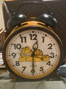 1978 Vtg Large Garfield The Big Fat Alarm Clock By Sunbeam Orange Cat Works 18