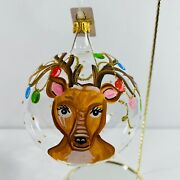 Trimsetter By Dillards Reindeer Garland Handcrafted Clear Glass Ornament Italy