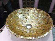 15 Inches Marble Counter Top Mosaic Art Restaurant Sink With Beautiful Design