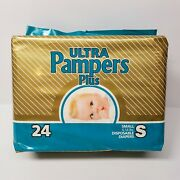 New Vintage Ulta Pampers Plus Small 24 Ct 1980s Disposable Baby Diapers