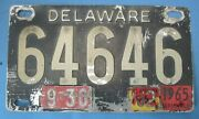 1962 1965 Delaware License Plate Stainless Steel Type Neat Number