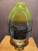 James R. Wilbat Studio Art Glass Large 10 1/2andrdquo H Vase Signed See Pictures Nice