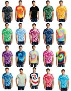 Tie Dye Mens Unisex T-shirt Blank Tye Dyed Tee Spiral 20 Colors To Choose From