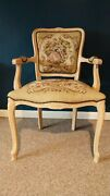 Rare Vintage French Louis Xv Style Floral Tapestry Chair Chateau D'ax Made In...