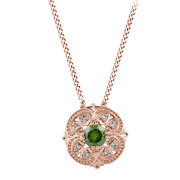 3/8 Ct April Birthstone Green And White Natural Diamond Pendant In 14k Rose Gold