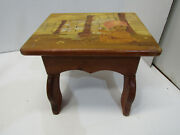 Vintage Small Wood Chair Step Milking Stool Hand Painted Bears Signed