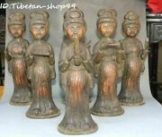 Old Tang Dynasty Purple Bronze Belle Beauty Girl Musical Instrument Music Set