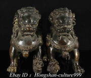 9and039and039 Details About Chinese Bronze Carving Feng Shui Guardian Lion Statue Pair