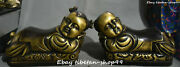 37cm China Pure Bronze Ancient Kid Boy Tongzi Pillow Weeping Willow Pair Statue