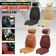 Massage 3 In1 Car Seat Cushion Cooling Warm Heated Chair Cover W/ 8 Fan 12v Usa