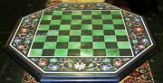 24 Inch Marble Coffee Cum Game Table Top Octagon Shape Side Table With Inlay Art