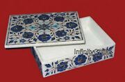 12x9 Inch Marble Box Inlaid With Lapis Lazuli Stone Ring Box For Christmas Gift