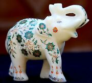 6 Inch Marble Elephant Statue Inlaid With Malachite Stone Christmas Gift Statue