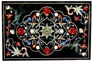 24 X 36 Inches Black Lawn Table Top Rectangle Dining Table With Multi Gemstones