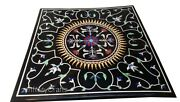36 X 36 Inches Marble Restaurant Table Top Black Patio Coffee Table Inlay Work