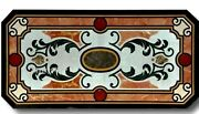 24 X 48 Inch Black Office Table Unique Dining Table Top Inlay Art Christmas Gift