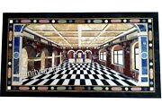24 X 48 Inches Black Marble Lawn Table Top Unique Design Inlaid Coffee Table