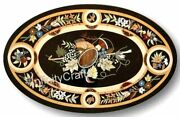 30 X 48 Inches Marble Oval Conference Table Top With Heritage Art Coffee Table