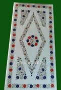 24 X 48 Inch Luxurious Marble Lawn Table Top White Patio Dining Table Inlay Work