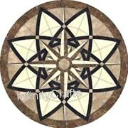 36 X 36 Inches Marble Lawn Table Round Shape Dining Table With Geometrical Work