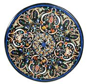 40 X 40 Inches Black Coffee Table Top Round Shape Kitchen Table Pietra Dura Art
