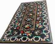 24 X 48 Inch Black Table Top Marble Coffee Table Inlay With Heritage Crafts