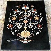 Vintage Handcrafted Marble Lawn Table Top Black Dining Table 36 X 48 Inches